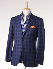 NWT $3795 OXXFORD HIGHEST QUALITY Blue Check Wool Sport Coat 38 S Slim-Fit