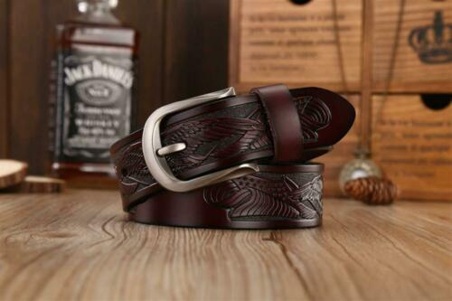 Men Belts Genuine Leather Pin Buckle Punk Handcrafted Eagle Shells Cowboy Strap