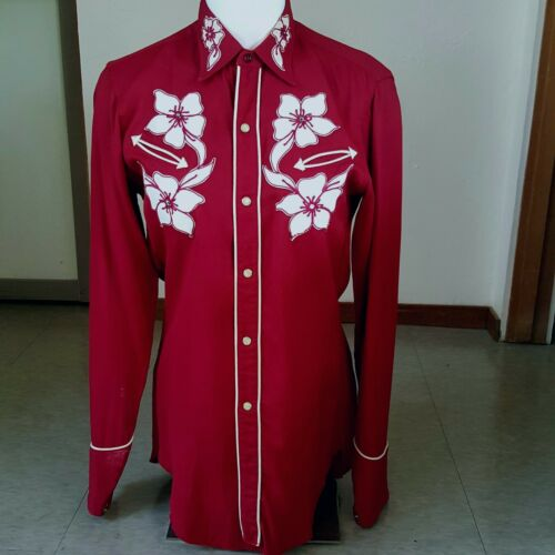 Karman 1950s vintage red gabardine western shirt w