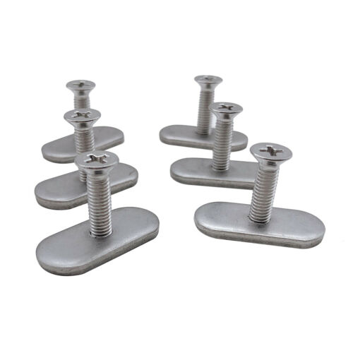 6X Stainless Steel Kayak Rail//Track Screws /& Track Nuts Hardware Kit Replacement