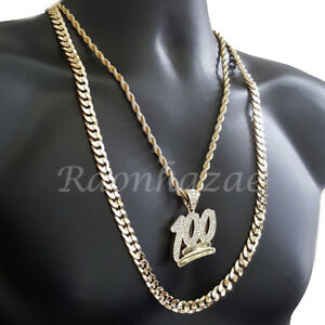 ICED-OUT-BLING-100-CHARM-ROPE-CHAIN-DIAMOND-CUT-30-034-CUBAN-CHAIN-NECKLACE-SET-G32