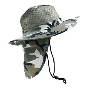 a626a1675be Camo Hat Wide Brim Outdoor w Neck Cover Sun Flap Hunt Hike Fishing ...
