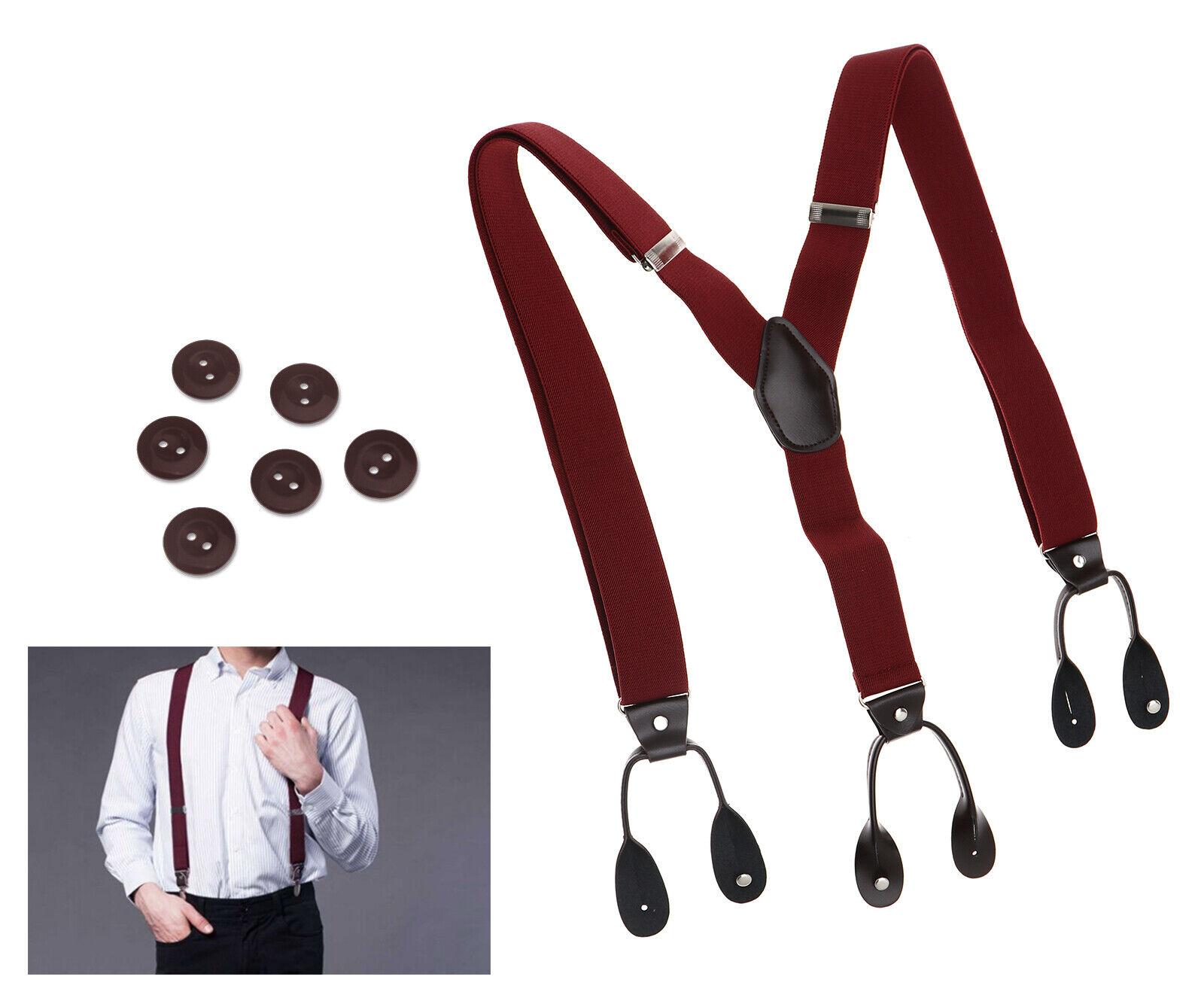 Verstellbare elastische Hosenträger mit Klammern 6-Knopf-Gürtel-Clip-On Weinrot