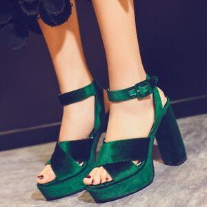 New-Women-Sexy-Suede-Cross-Style-Platform-Buckle-Belt-High-Heels-Good-Gift-Size8