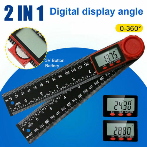 !US 200mm 2 In 1 Electronic LCD Digital Angle Finder Protractor Ruler Goniometer