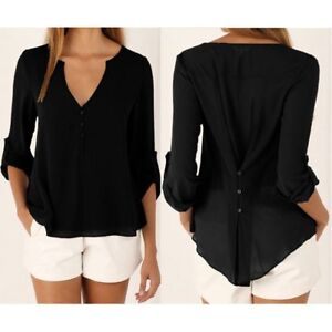 Women-039-s-Ladies-Summer-Loose-Chiffon-Tops-Fashion-Long-Sleeve-Shirt-Casual-Blouse