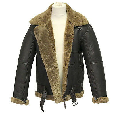 WWII Mens RAF Ginger Sheepskin Aviator Flying Jacket