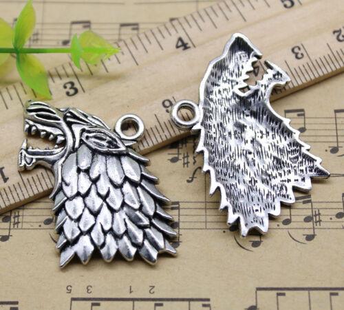 2//10//30pcs Retro Artisanat Jewelry Making Wolf/'s Head Alloy Charms Pendentif 36x26mm