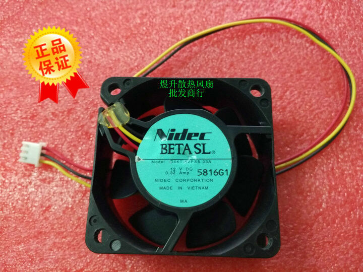 for Nidec 6025 D06T-12PS5 03A DC12V 0.32Amp 3-wire axial cooling fan