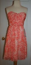 J.CREW MARBELLA STRAPLESS DRESS IN WATERCOLOR SILK CHIFFON SIZE 2 SWEET GUAVA