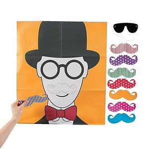 """Pin the Flashy Stache Game Mustache Movember Party Games (22"""" x 33 1/2"""" Poster)"""