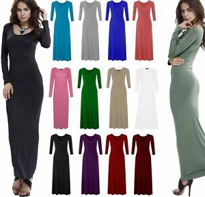NEW-WOMENS-LADIES-JERSEY-PLAIN-LONG-SLEEVES-FLARED-STRETCHY-MAXI-DRESS-PLUS-SIZE