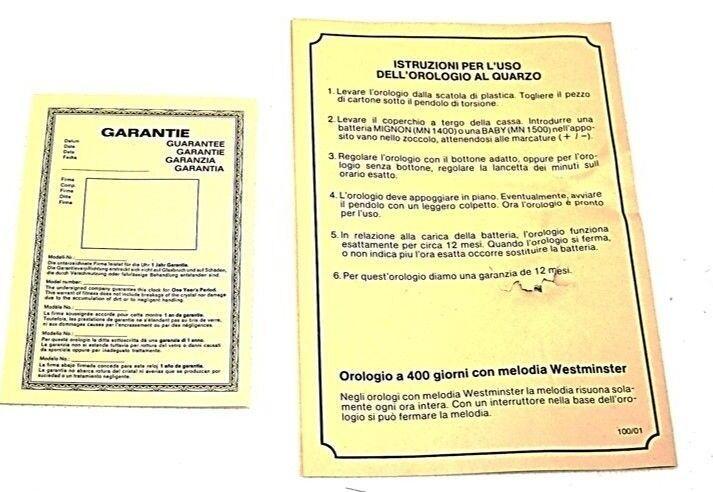 orologio da tavolo/ camino nuovo made in in in west germany / germania circa 1985 1aea13