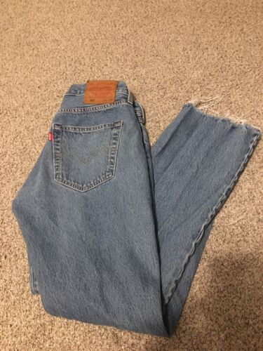 LEVIS 501 Big E Jeans 30x27 Light Denim Distressed