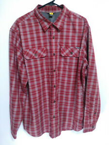 Eddie-Bauer-Mens-Size-XL-Red-Plaid-Polyester-Flannel-Long-Sleeve-Button-Up-Shirt