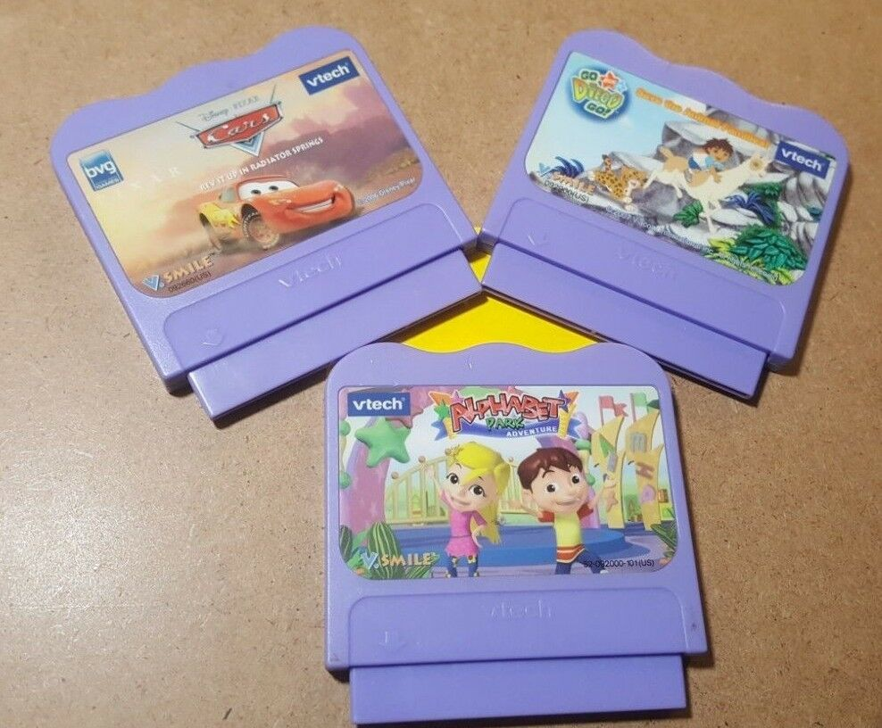LOT OF 3 Vtech VSmile Learning Games - Alphabet Park,  Cars, & Go Diego Go -USED
