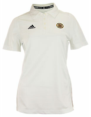 Fan Apparel & Souvenirs Women's Clothing White Numerous In Variety Popular Brand Adidas Nhl Women's Boston Bruins Adiselect Logo Polo