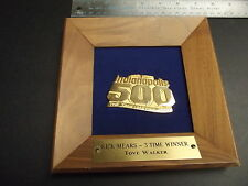 RARE Rick Mears Penske 1988 500 Indy 500 Plaque Indycar Three Time Walker RARE