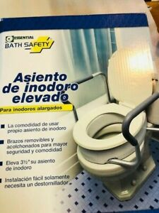 Essential Medical  Elevated Toilet Seat with Arms 19.5 x 14 x 3.5 Elongated