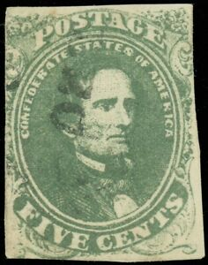 US Scott CSA #1b Confederate Dark Green, USED, SCV $250.00 (SK)