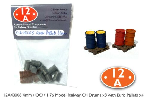 OO 1:76 4mm Scale Oil Drums x8 and Euro pallets x4 for Model Railway