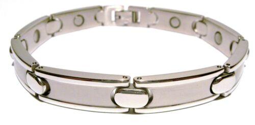 Pulsera magnética unisex de acero inoxidable macizo color plata brillante pulido nuevo