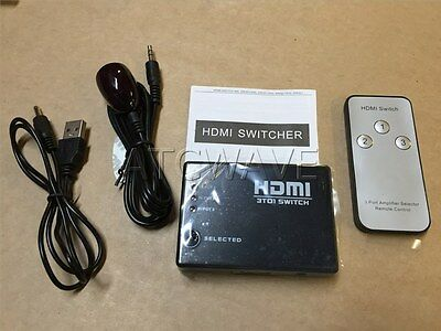 Slim 3 Port HDMI Auto Remote Control 3 Way Switch Splitter Selector Box