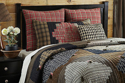 COUNTRY PLAID ** King ** QUILT : WESTERN RUSTIC RED BROWN CABIN COMFORTER