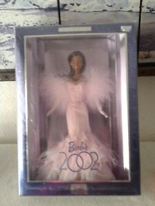 Barbie-2002-doll-Collector-Edition-Afro-American-in-sparkly-Pink-Dress-Mattel