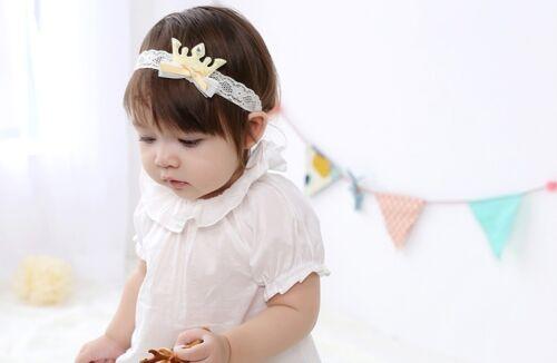 Cute Crown Girl Kids Glitter Rhinestone Lace Headband Kids Hair Accessories