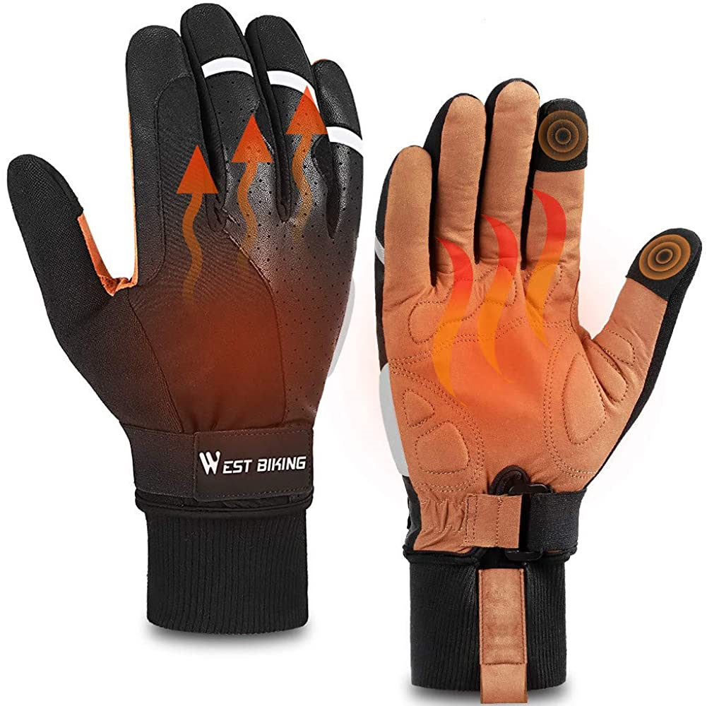 Cycling Gloves, Thermal Fleece Winter Gloves, Anti-slip Shockproof Road Mountain