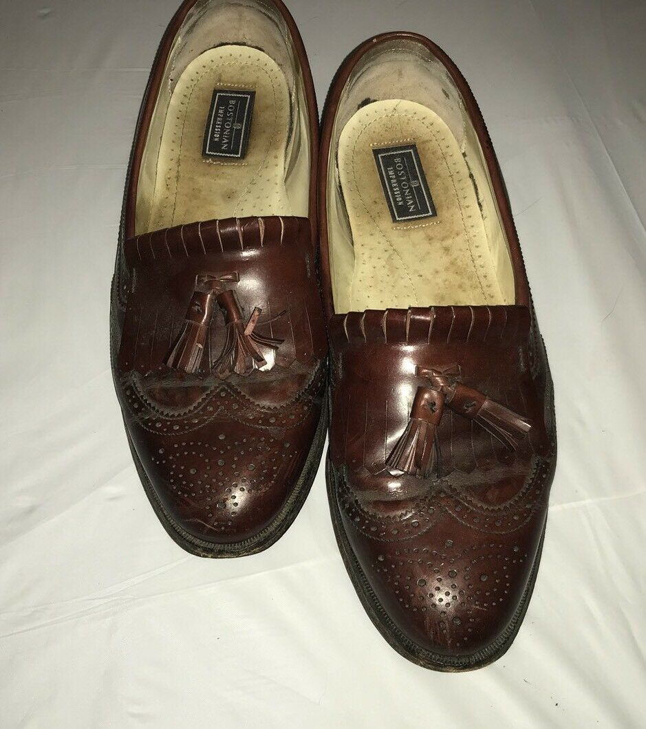 MEN'S BOSTONIAN IMPRESSIONS SHOE LEATHER BROWN SLIP ON OXFORD SHOE IMPRESSIONS SIZE 11.5 b375fc