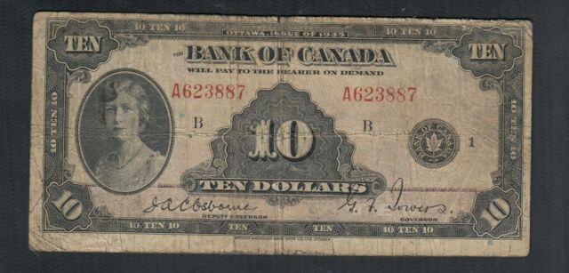 1935 CANADA 10 DOLLARS BANK NOTE ENGLISH