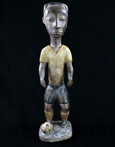 Art-Africain-Ancienne-Statue-en-Bois-Colon-Baoule-Piece-Publiee-50-Cms