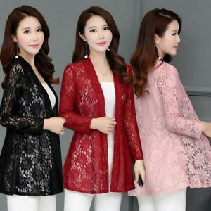 Women-Cardigan-Sun-Shirt-Blouse-Summer-Lace-Chiffon-Sunproof-Long-Sleeve-Outwear