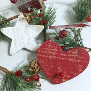 Wooden-Heart-Star-Ornament-Set-2-Christmas-Country-Rustic-Holiday-Red-White