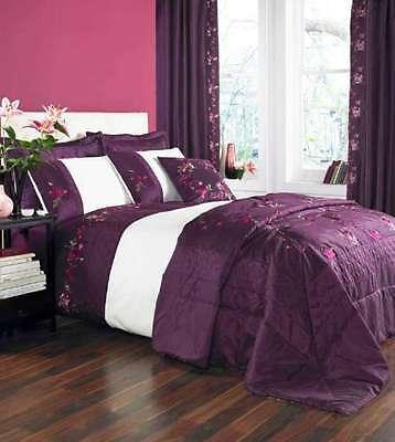Catherine Lansfield Amalie Plum Duvet Cover Bed Set Single