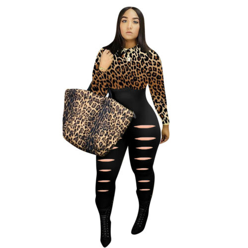 New Women Leopard Print Patchwork Casual Long Sleeves Bodycon Burn Out Jumpsuits