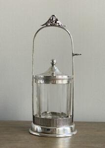 Antique Simpson Hall & Miller Co Pickle Castor Jar, Lid Treble Plate Silverplate