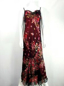 Monsoon-Silk-Blend-Long-Dress-UK-14-Black-amp-Pink-Floral-Brocade-Sequins-Beaded