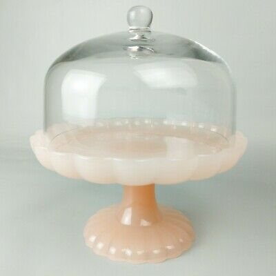 Easter Pink Milk Glass Hearth and Hand Magnolia Round Cake Stand with Cloche