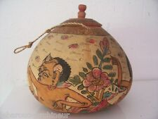 Ancien pot en bois polychrome Bali balinean art