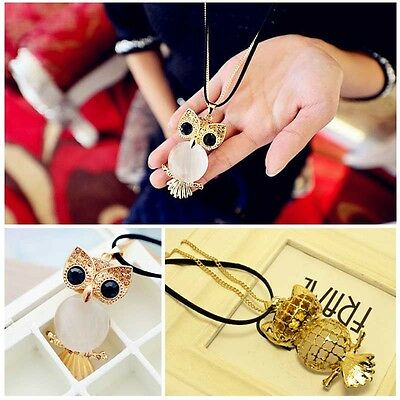 New Fashion Crystal Green Eye Owl Vintage  Necklace Charm Pendant Long Chain