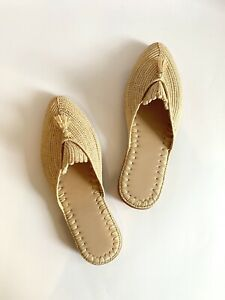 Natural-Tasselled-Raffia-Slides-Women-039-s-Shoes-Summer-Woven-Moroccan
