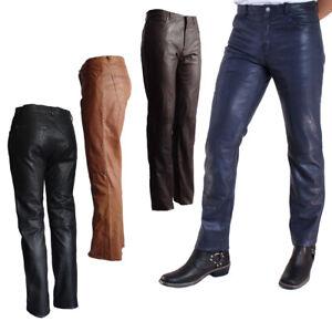 Homme Pantalon en Cuir Tendance Nappa Agneau Bleu, Braun, Cognac, Noir