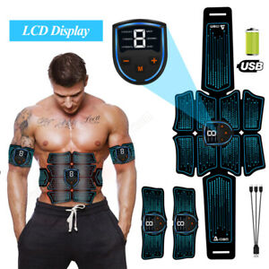 EMS ABS Stimulator Muscle Toner Abdominal Toning Belt Muscle Trainer USB