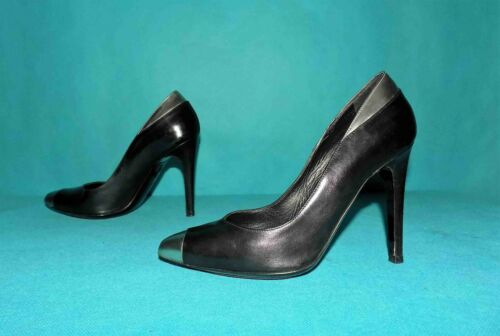 Court Shoes Barbara Bui Black Leather and Silver P