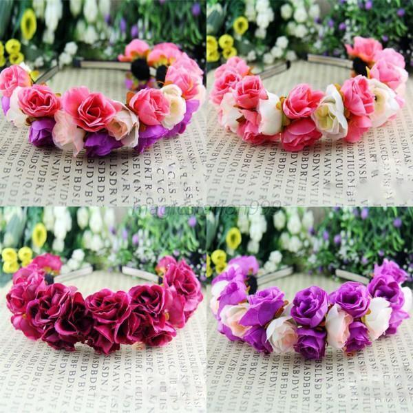 Beauty Rose Flower Crown Headband Wedding Double Row Floral Garland Hairband MA5