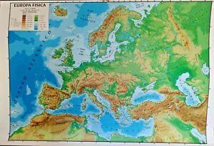 Cartina Fisica E Politica.Cartina Geografica Murale Europa 100 X 140 Cm Fisica E Politica Plasticata Ebay