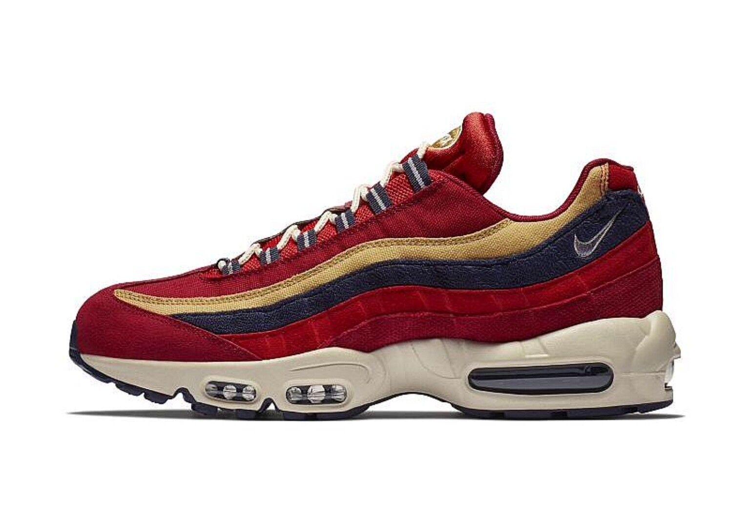 Échantillon Nike Air Max 95 PRM Rouge - Rouge / Blé Or 538416-603 UK8 / EU42.5 / US9